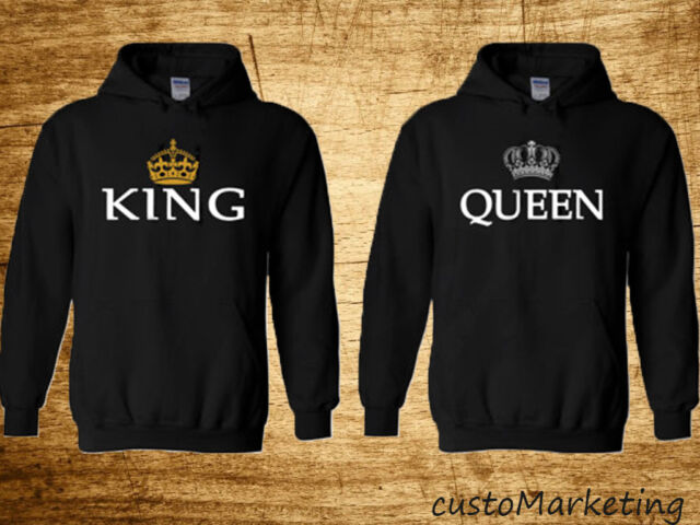 King and Queen, Inspired Soul Mate,Couple sweatersCartoon- Funny Couple Hoodies
