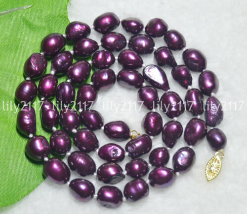 """9-10 mm Real Natural Violet freshwate Perle Baroque Colliers 18/"""""""
