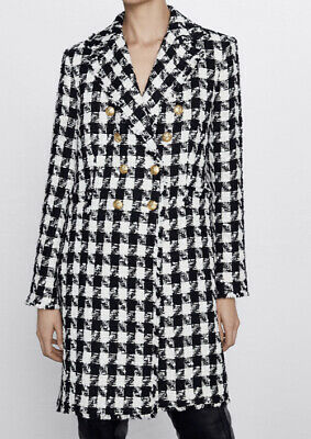 ZARA DOUBLE BREASTED LONG JERSEY KNIT LAPEL COLLAR OVERSIZED HOUNDSTOOTH COAT S