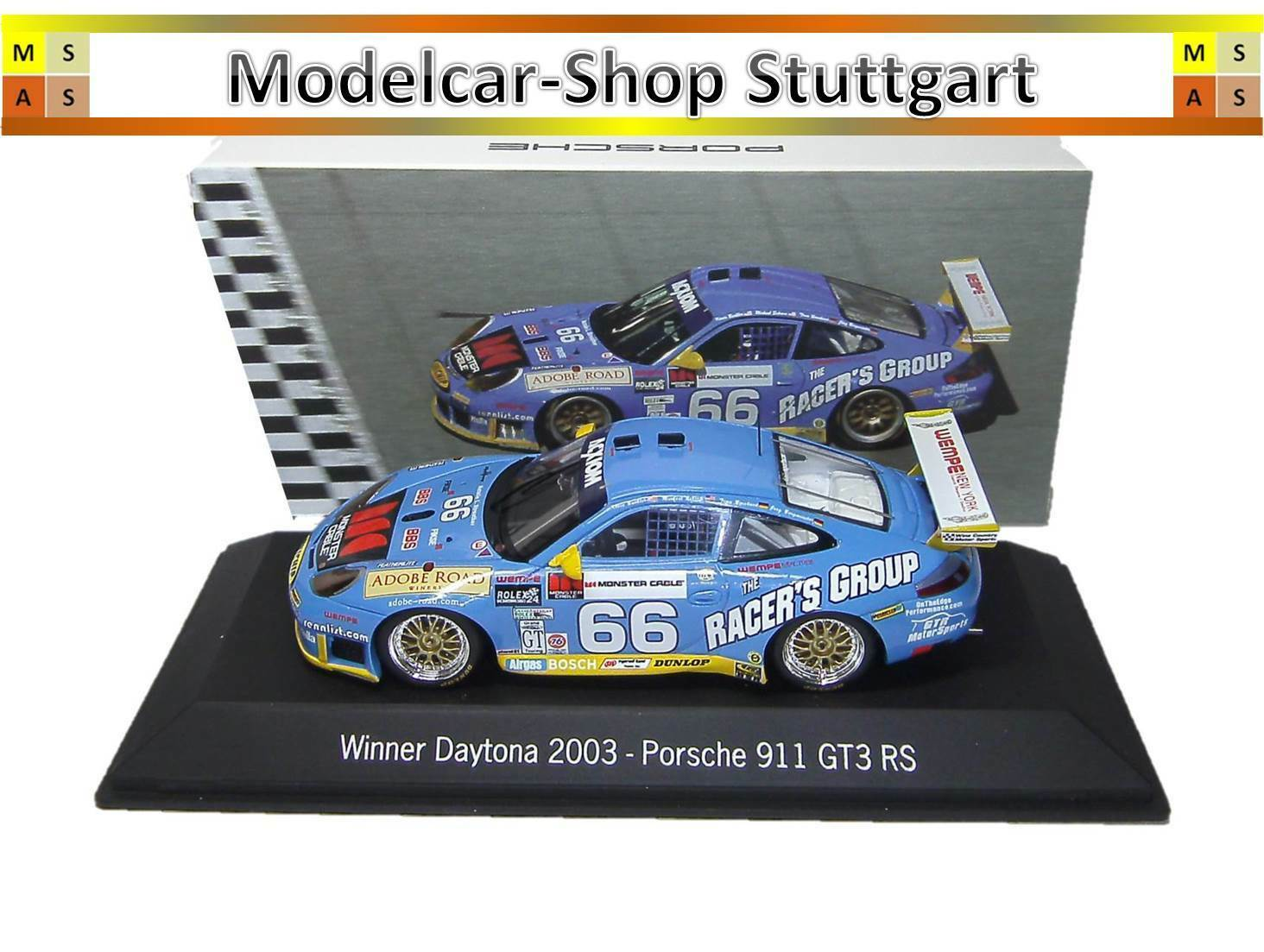Porsche 911 gt3 rs  66 Winner Daytona 2003 Spark 1 43 map02030314 NEUF