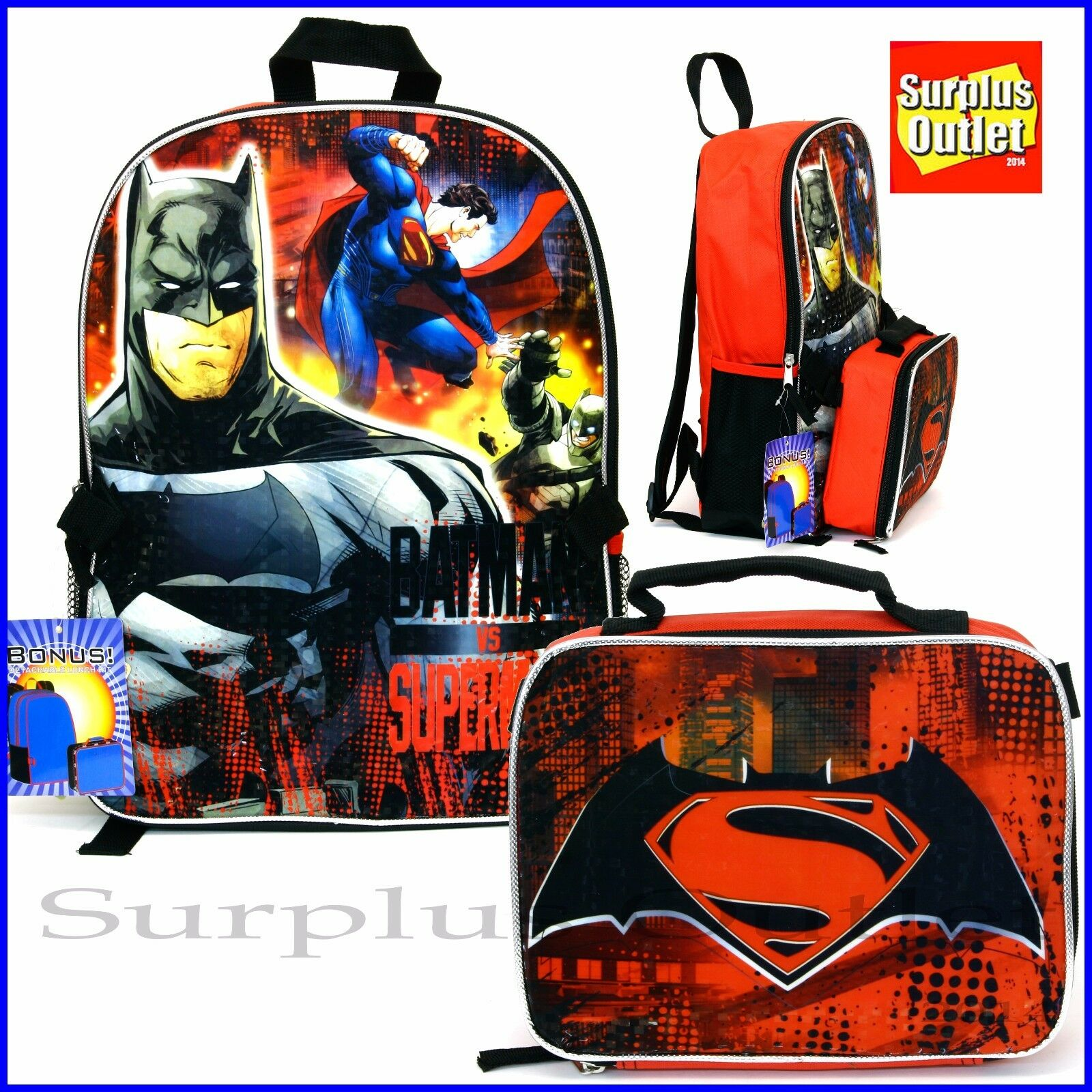 "DC Comics Batman vs Superman 16/"" Red School Backpack w//Insulated Lunch Bag"