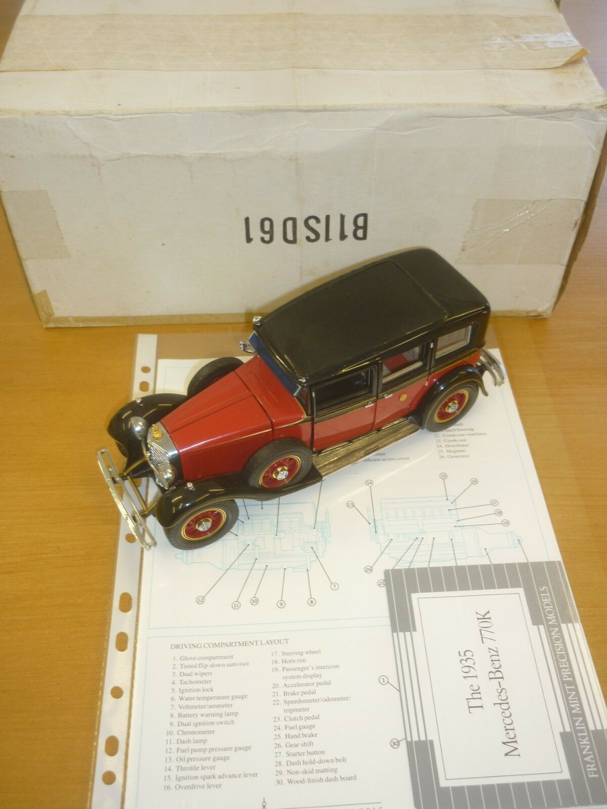 Die franklin - mint - ein modell einer 1935 mercedes - benz 770k geboxt, papierkram