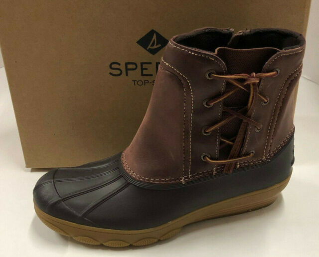 124120d8deb3 Nib Womens Sperry Top Sider Saltwater Wedge Spray Brown Leather Duck Boots  12