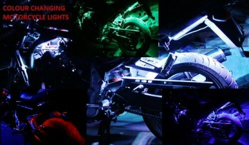 Colour Changing LED Motorcycle Accent Lights Light Kit Color Motorbike Lighting
