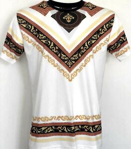 Couture-Blanc-T-Shirt-Temps-Est-Argent-Urban-Hip-Hop-T-shirts-Designer-Homme-Baroque
