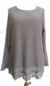 Lagenlook-Boutique-Style-2xLayer-Lace-Knit-Top-Coffee-SIZES-18-20-amp-20-22