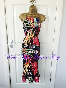 Black-Carnival-Floral-Print-Bodycon-Fishtail-Backless-Evening-Party-Wiggle-Dress