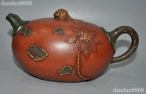 8-034-Old-Chinese-Yixing-Zisha-Pottery-carved-Lotus-goldfish-Teapot-pot-Tea-maker