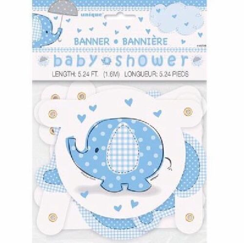 Blue Baby Shower Banner Boy Banners Party Decorations Foil Jointed Bunting Cups