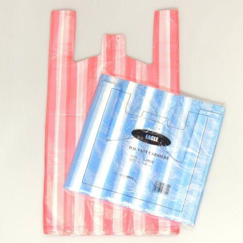 "200 X  NEW LARGE CANDY STRIPE Plastic Vest Carrier Bags 11/""x17/""x21/"" SALE"