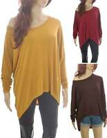 Off Shoulder Oversized Slouch Baggy Lagenlook Stretchy Drape Top 8 10 12 14 16