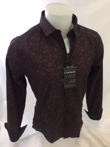 Mens-CAVIAR-DREMES-Designer-Shirt-Woven-BLACK-RED-ABSTRACT-Roar-Wit-Class-CD4494