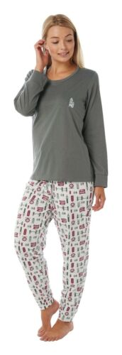 Grey//Ivory Sizes 10-12 14-16 18-20. Ladies Jersey London Print Pyjamas