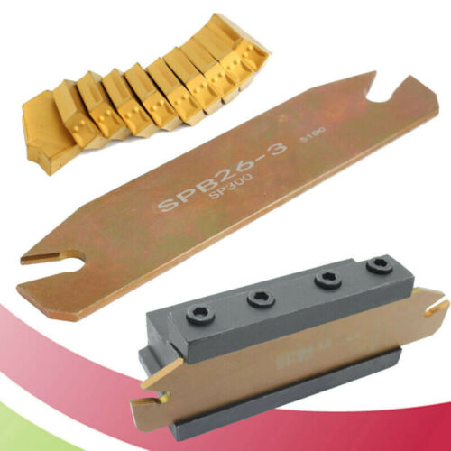 Coated Carbide Parting Grooving Cut-Off Tool Holder With 10pcs GTN-3 SP300 Inser