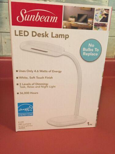 New SUNBEAM Flexible Neck LED Desk LAMP Adjustable Light Energy Star
