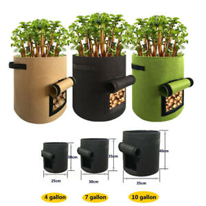 2/5X Potato Grow Planter Container Bag Pouch Root Plant Growing Pot Side Window