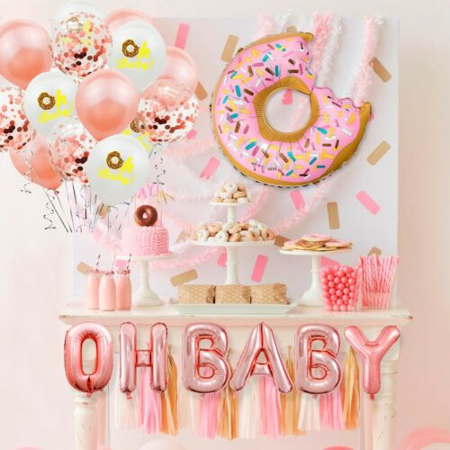 Donut Foil Balloon Tableware Set Kids Baby Shower Birthday Party Home Decoration