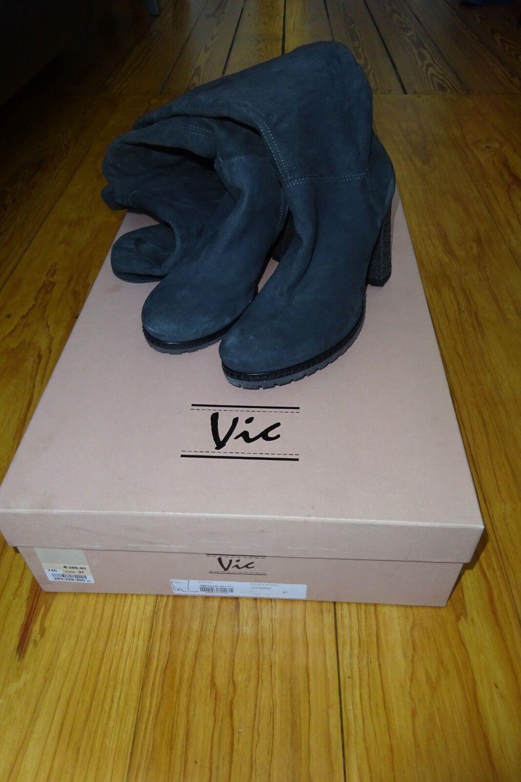 Stiefel dunkelgrau, von VIC, dunkelgrau, Stiefel Overknees, Gr.37 1xanprobiert Schnäppchen a47ef0