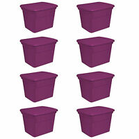 Sterilite 18 Gallon Plastic Storage Tote, Fuchsia Flight (8 Pack) | 17314w08