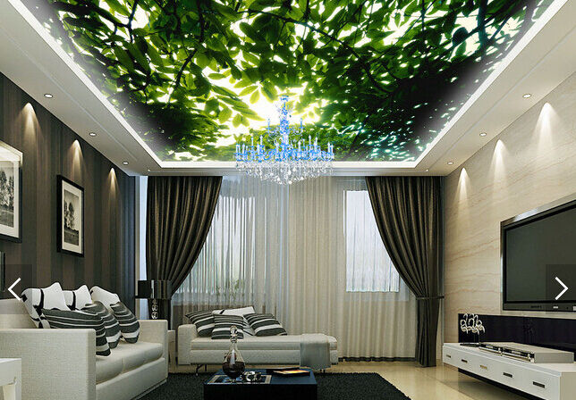 3D Green Elm Leaf 97 Ceiling WallPaper Murals Wall Print Decal Deco AJ WALLPAPER