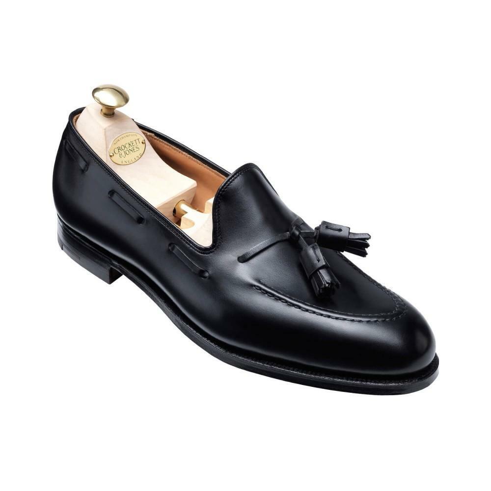 Crockett & Jones Cavendish Noir Cuir Mocassins Chaussures  Made in England