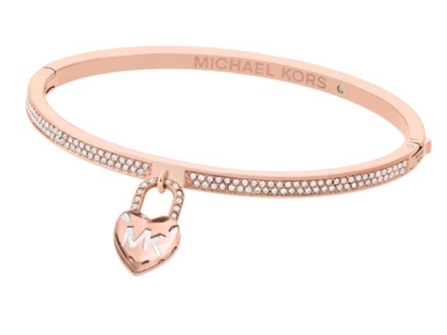 Michael Kors Women Logo Love Heart Rose Gold Bangle Bracelet Crystals MKJ7019791