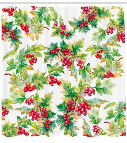 Rowan Pattern Shower Curtain Fabric Decor Set with Hooks 4 Sizes Ambesonne