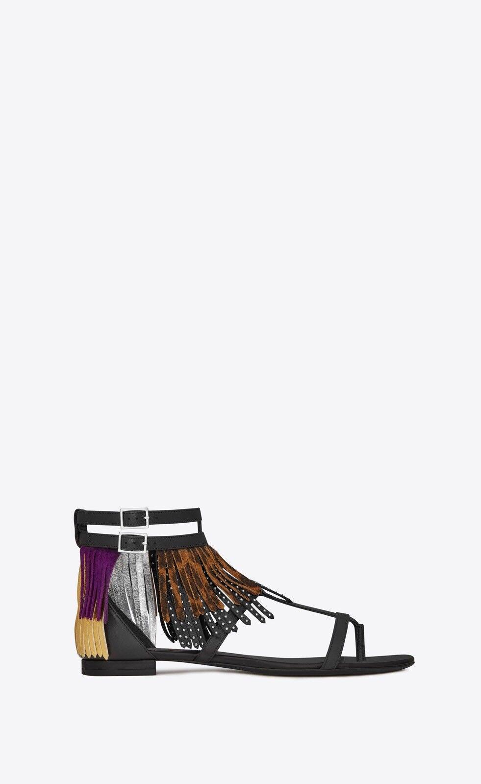 Saint Laurent YSL Nu Pieds 10 Fringe Ankle Strap Flat Gladiator Sandals 38.5 8.5