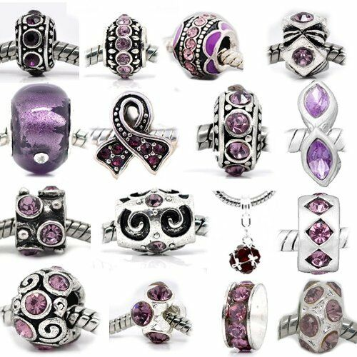 of Assorted Shades of Purple Crystal Rhinestone Beads Ten 10