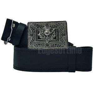 GENUINE-REAL-LEATHER-SCOTTISH-KILT-BELT-WITH-CHROME-THISTLE-BUCKLE-30-48-INCHES