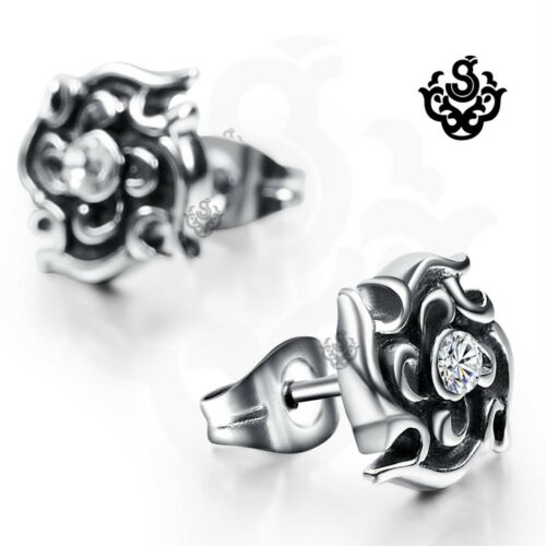 Silver stud made with clear swarovski crystal earrings soft Gothic flower uni