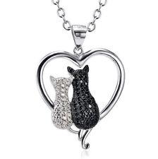 925 Sterling Silber Katze Katzen weiß schwarz Kristall Anhänger Kette Halskette