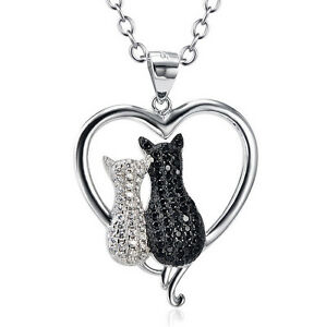Cat 2 Cats Pair White Black Crystal Pendant Necklace 925 Sterling Silver