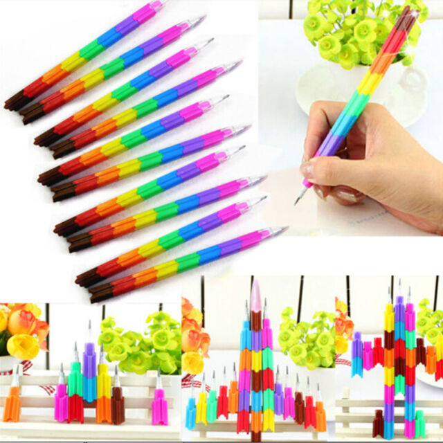 4pcs 8 Colors Stacker Swap Building Block Pencils Children Gift 2016 New PVCA
