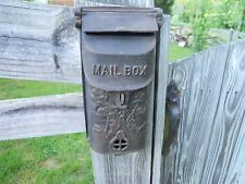Vintage Antique Ornate  Heavy Cast iron metal MAILBOX Wall mount double Lid