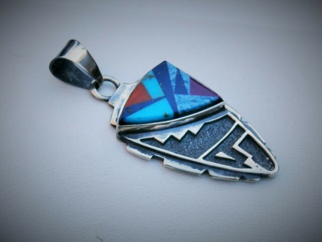 """Southwestern M Signed 1 7/8"""" Sterling Silver Turquoise Lapis + Stone Pendant"""