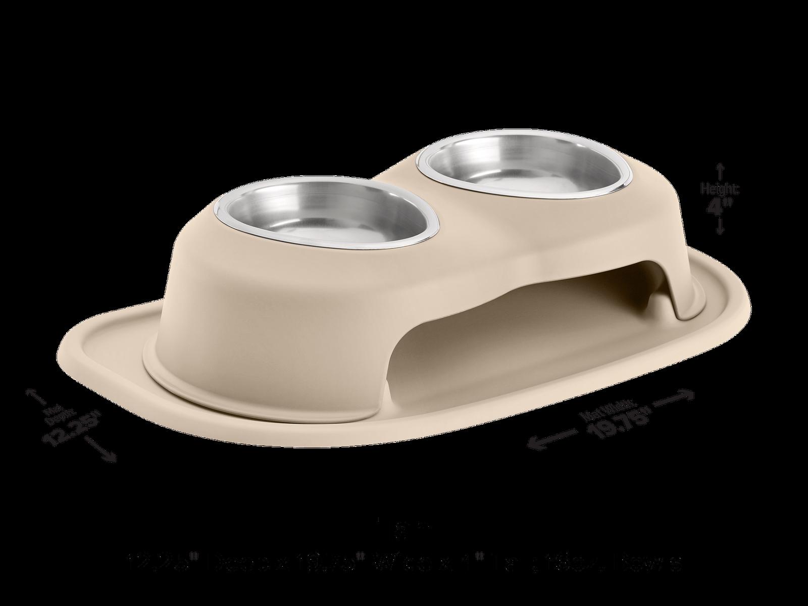 PetComfort PetComfort PetComfort Double High Feeding System w  Standard Mat - Dog Cat Feeder - Tan 551824