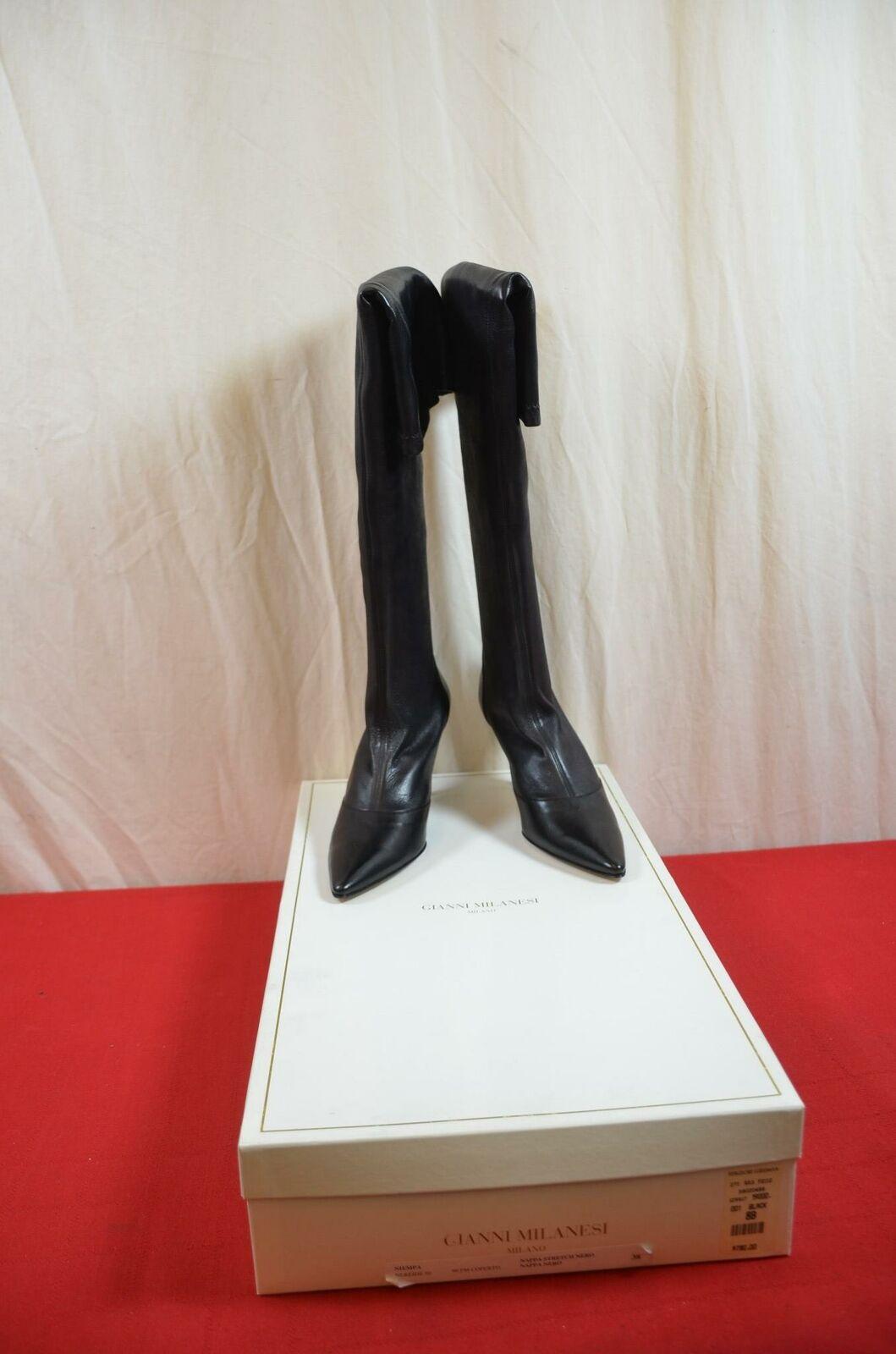 Gianni Milanesi Nappa Stretch nero Dimensione 38 New Calf stivali Heels  1873
