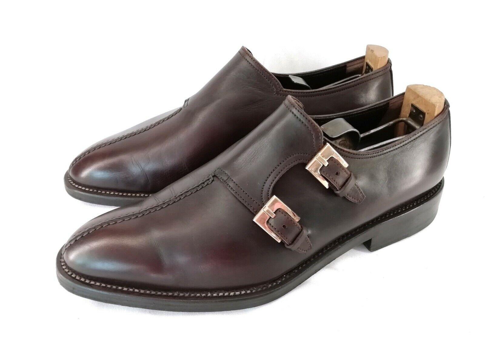 Bcouriro Magli Double Monk Strap Mocassins Chaussures Hommes Marron cuir Oiseau RARE UK 7 T 41