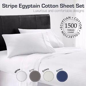 ALL-SIZE-1500TC-Genuine-Egyptian-Cotton-White-Ocean-Grey-Cream-STRIPE-Sheet-Set