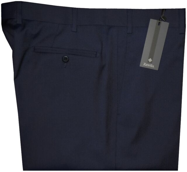 $395 NWT ZANELLA NORDSTROM DEVON NAVY PENCIL STRIPE SUPER 130'S WOOL PANTS 38