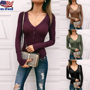 Women-Long-Sleeve-V-Neck-Bodycon-Slim-Blouse-Ladies-Knit-Fit-Casual-T-Shirt-Tops