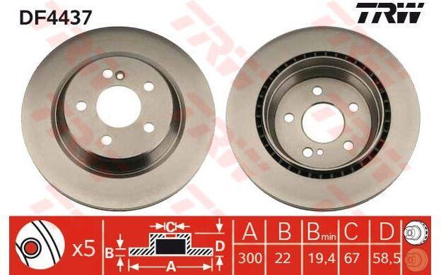 TRW Juego de 2 discos freno 300mm ventilado MERCEDES-BENZ CLASE S DF4437