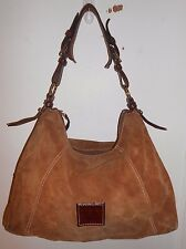 Dooney & Bourke X-Large Distressed Camel Brown Suede Leather Hobo Satchel Purse