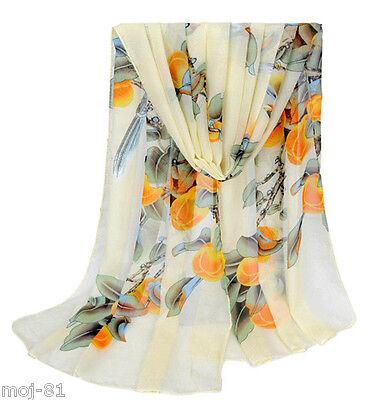 Fashion Women's Long Print Silk Chiffon Scarf Wrap Ladies Shawl Scarves Beige