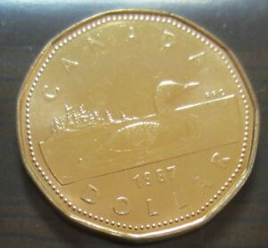 1987-Canada-PROOF-LIKE-SPECIMEN-One-Dollar-Coin-UNC-Canadian-Loonie-1