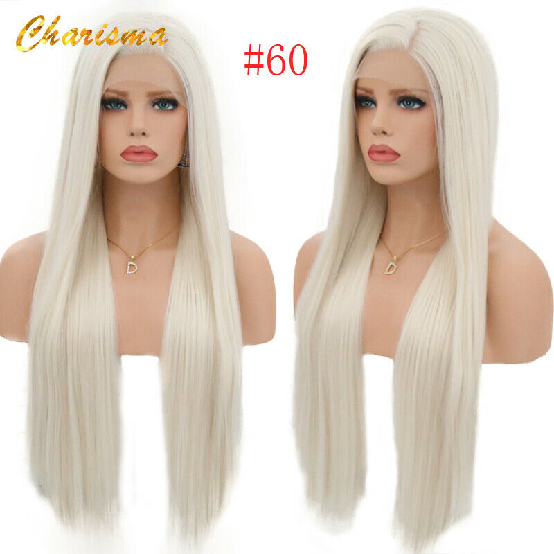 Official Website Charisma 26 Inches Long Ombre Blonde Wig Silky Straight Synthetic Lace Front Wig For Women Heat Resistant Wigs Side Part Hair Extensions & Wigs Synthetic Wigs
