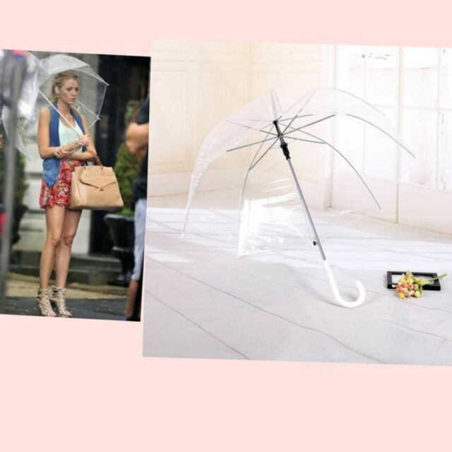 See Through Walking Umbrella Clear Mushroom Umbrella Handle Transparent Dome New