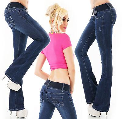 Women/'s high waist stretch skinny distressed Jeans dark Blue Sizes UK 6-14
