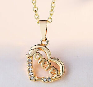 """18k Yellow Gold Womens Heart Pendant With 24/"""" Link Chain Necklace w Gift Pk D740"""